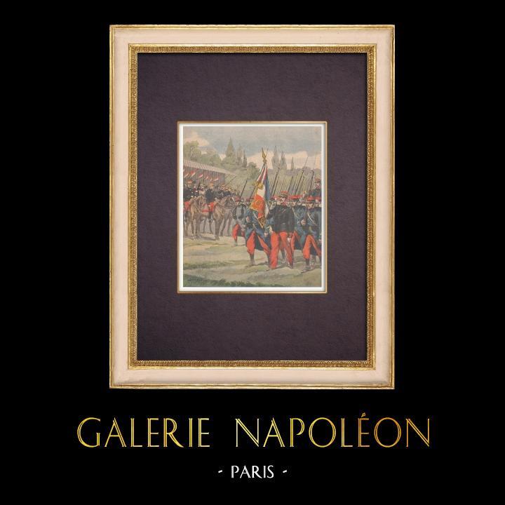 Antique Prints & Drawings | Military parade at Hippodrome de Vincennes - Paris - 1901 | Wood engraving | 1901