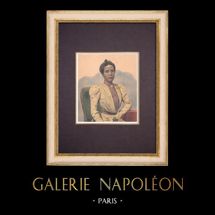 Gravures Anciennes & Dessins   Portrait de la Reine Ranavalona III à Paris - 1901   Gravure sur bois   1901