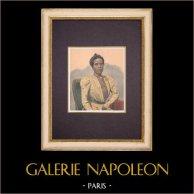 Portrait de la Reine Ranavalona III à Paris - 1901 | Gravure sur bois imprimée en chromotypographie. Anonyme. Texte au verso. 1901