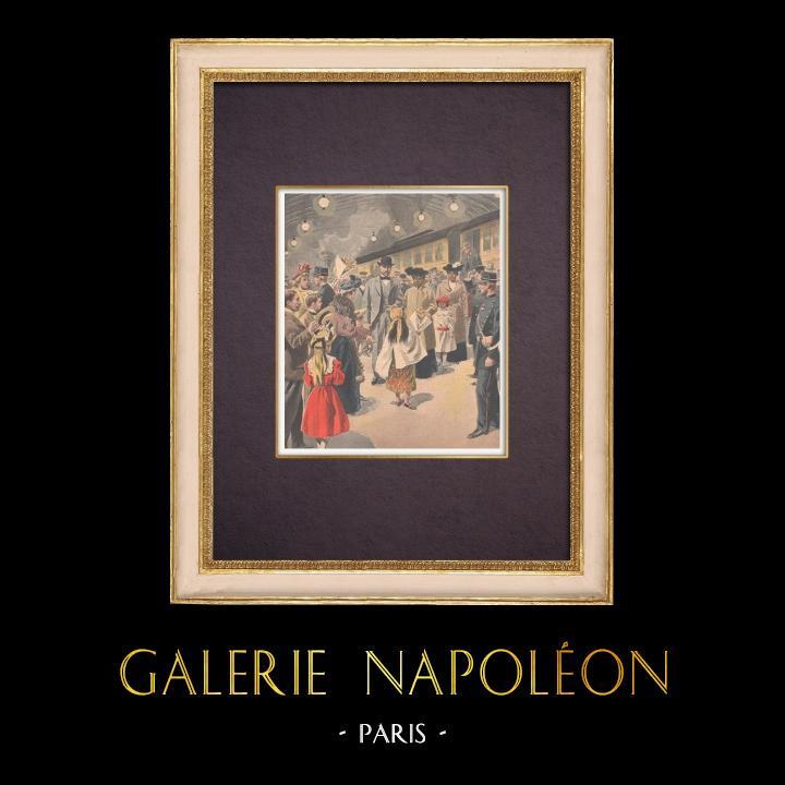 Gravures Anciennes & Dessins | Arrivée de la Reine Ranavalona III à Paris - 1901 | Gravure sur bois | 1901