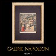 Arrivée de la Reine Ranavalona III à Paris - 1901   Gravure sur bois imprimée en chromotypographie. Anonyme. Texte au verso. 1901
