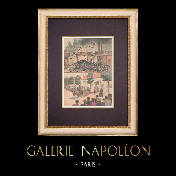 Antique Prints & Drawings | Explosion at Issy-les-Moulineaux - Île-de-France - 1901 | Wood engraving | 1901