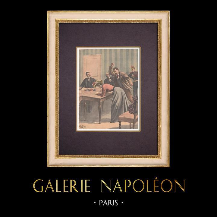 Gravures Anciennes & Dessins | Meurtre au Palais de justice - Paris - 1901 | Gravure sur bois | 1901