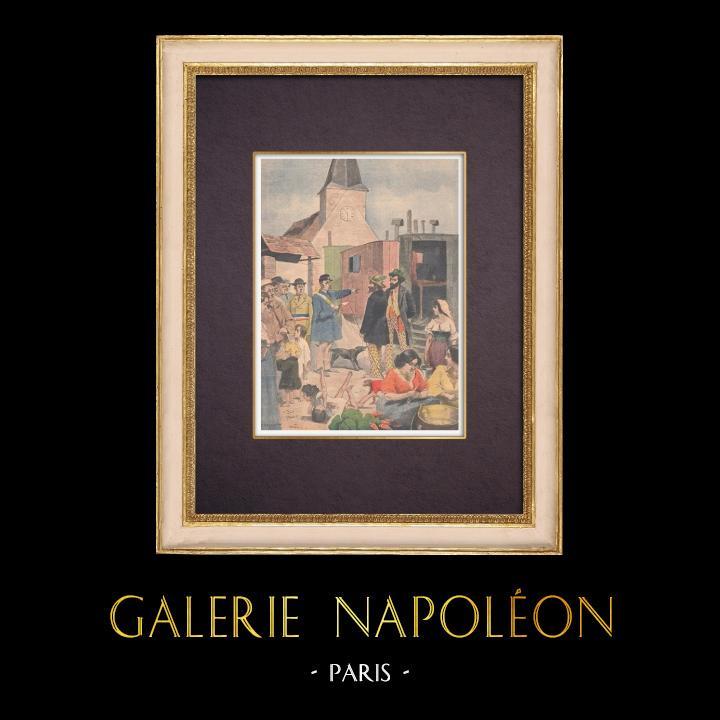 Antique Prints & Drawings | Caravan of Gypsies in Arnouville - Île-de-France - 1901 | Wood engraving | 1901
