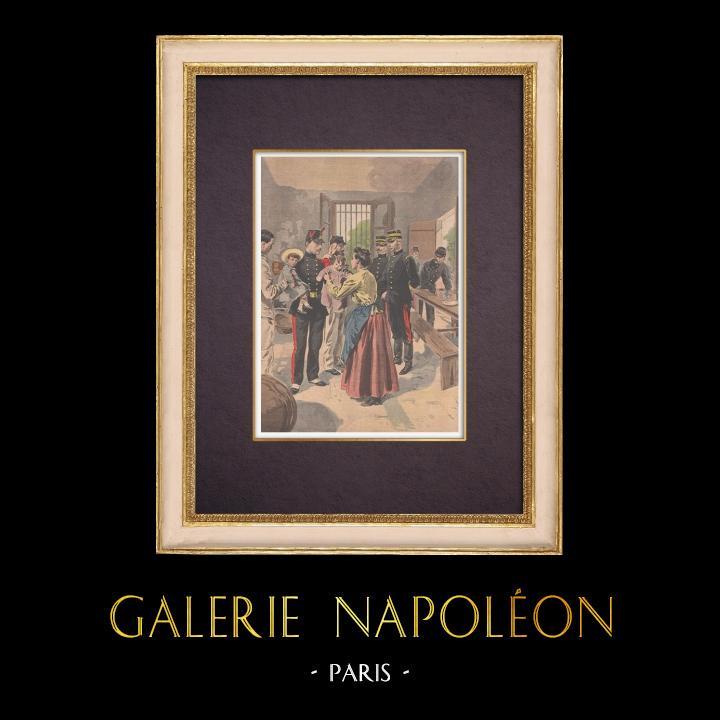 Antique Prints & Drawings | Solidarity in the barracks of Versailles - Île-de-France - 1901 | Wood engraving | 1901