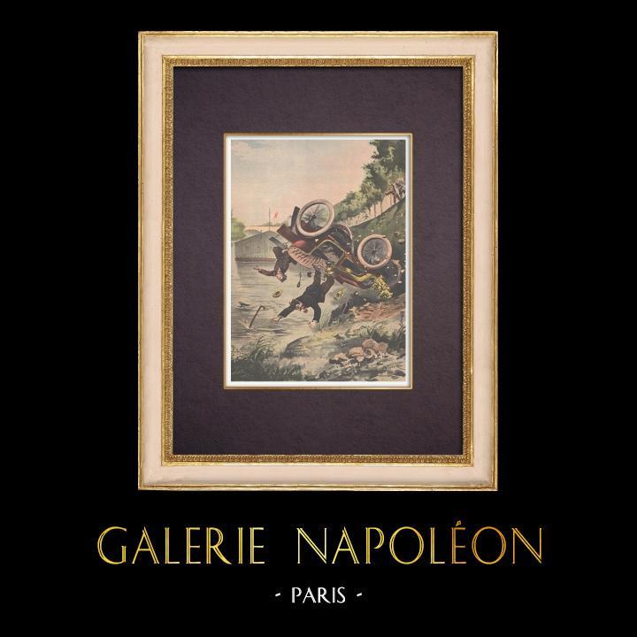 Gravures Anciennes & Dessins | Une automobile tombée dans la Seine près du Bois de Boulogne - Ile de France - 1901 | Gravure sur bois | 1901