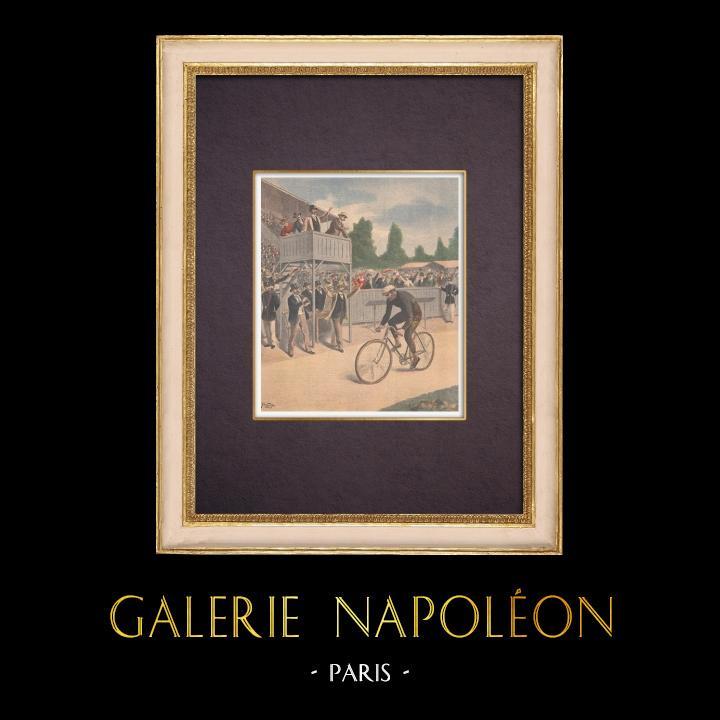 Antique Prints & Drawings | Cycling race - Paris-Brest - Maurice Garin, winner 1901 | Wood engraving | 1901