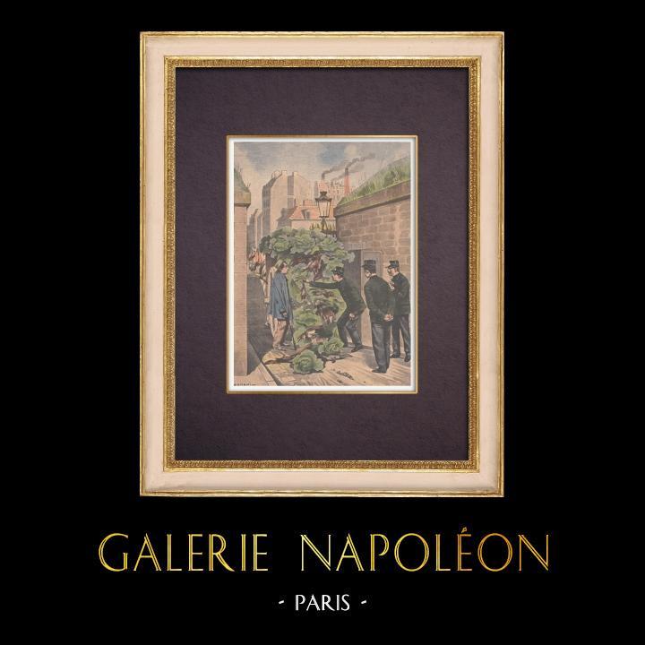 Gravures Anciennes & Dessins | Braconnage - Le gibier est caché dans une charrette de choux - Paris - 1901 | Gravure sur bois | 1901
