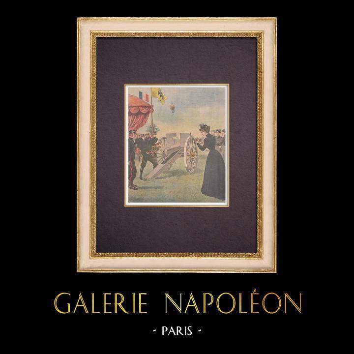 Gravures Anciennes & Dessins   Grandes manœuvres de l'Est - Nicolas II admire le nouveau canon français - Reims - 1901   Gravure sur bois   1901