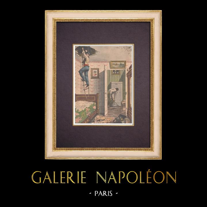 Gravures Anciennes & Dessins | Un cambriolage audacieux à Paris - 1901  | Gravure sur bois | 1901