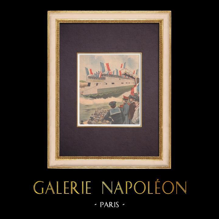 Gravures Anciennes & Dessins | Le croiseur-cuirassé Léon Gambetta - France - 1901 | Gravure sur bois | 1901