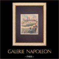 Le croiseur-cuirassé Léon Gambetta - France - 1901 | Gravure sur bois imprimée en chromotypographie. Anonyme. Texte au verso. 1901