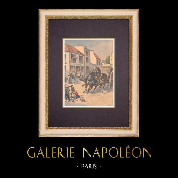 Gravures Anciennes & Dessins | Un garçon arrête un cheval emballé à Choisy-le-Roi - Ile de France - 1901  | Gravure sur bois | 1901