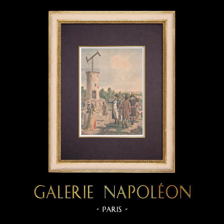 Gravures Anciennes & Dessins   Le Télégraphe de Chappe - Claude Chappe - France   Gravure sur bois   1901