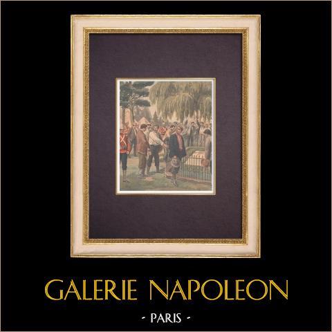 Tombe de Napoléon à Sainte-Hélène - Treize français prisonniers - Longwood - 1901 | Gravure sur bois imprimée en chromotypographie. Anonyme. Texte au verso. 1901