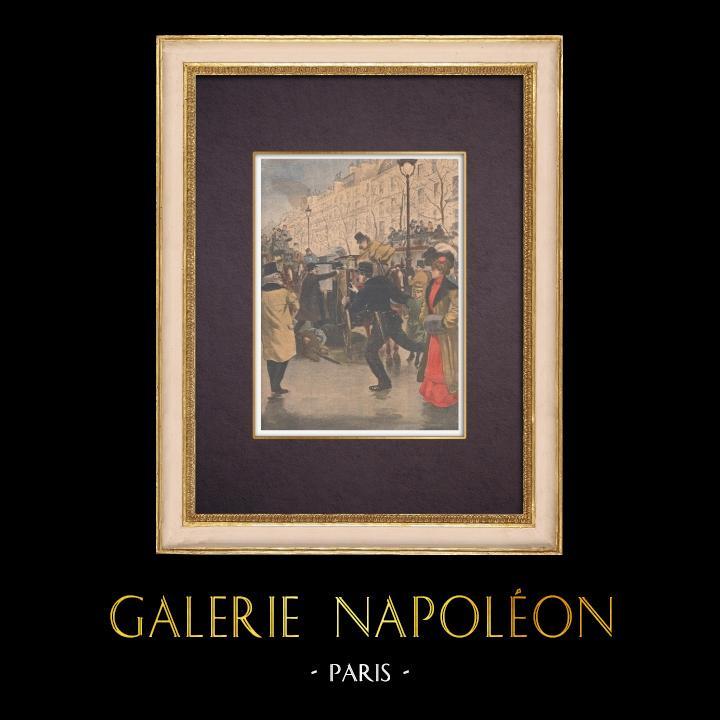 Gravures Anciennes & Dessins | Meurtre par vengeance dans les rues de Paris - Boulevard des Capucines - 1901 | Gravure sur bois | 1901