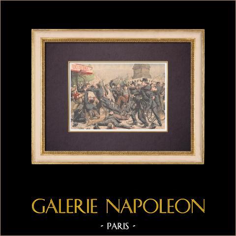Ligister och poliser i Place de la Bastille - Paris - 1904 | Original träsnitt tryckt i kromotypografi. Anonym. Text på baksidan. 1904