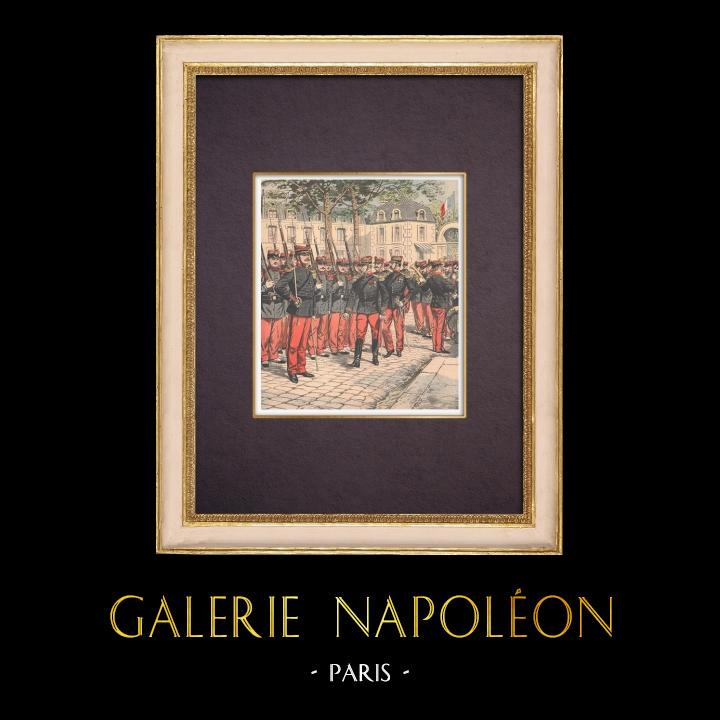 Gravures Anciennes & Dessins | Réformes militaires - Présentation des armes - France - 1904 | Gravure sur bois | 1904