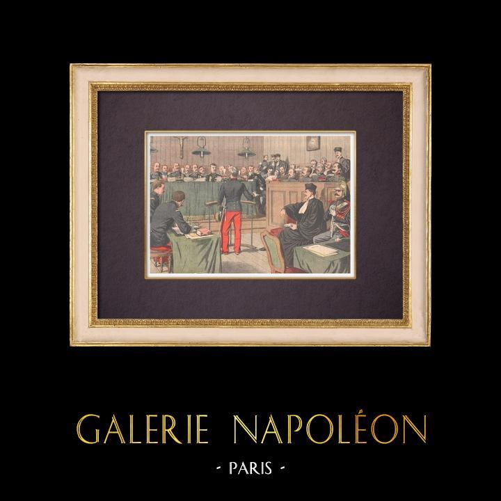 Gravures Anciennes & Dessins   Affaire Dautriche - Conseil de guerre - Le Cherche-Midi - Paris - 1904   Gravure sur bois   1904