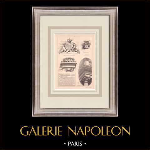 Börs i Madrid - Spanien (Enrique M. Repulles y Vargas) | Original grafik på bister papper. Anonym. Centralt veck och text på baksidan. 1900