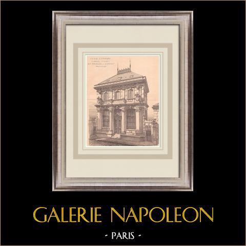 Bank - Caisse d'Epargne - Melun - Frankrike (Pronier & Harant) | Original grafik på bister papper. Anonym. Centralt veck och text på baksidan. 1900