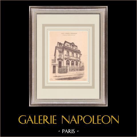 Bank - Caisse d'Epargne - Fontainebleau - Frankrike (Courtois-Suffit) | Original grafik på bister papper. Anonym. Centralt veck och text på baksidan. 1900