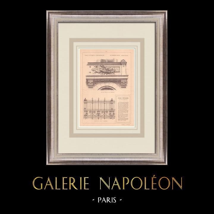 Gravures Anciennes & Dessins | Banque - Caisse d'Epargne - Fontainebleau - France (Courtois-Suffit architecte) | Impression | 1900