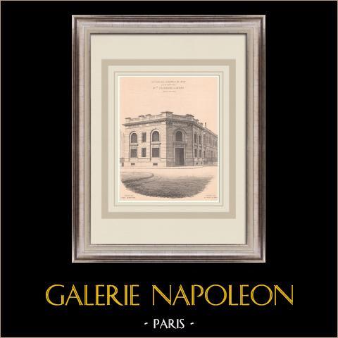 Trésorerie générale - Nice - França (Tournaire & Mars) | Estampa original sobre papel bistre. Anónima. Vinco central da época e reverso impresso. 1900