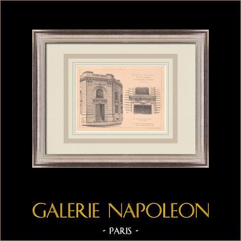 Trésorerie générale - Nice - Frankreich (Tournaire & Mars) | Original grafik auf bister papier. Anonym. Mittelfalte aus der zeit und text auf der rückseite. 1900