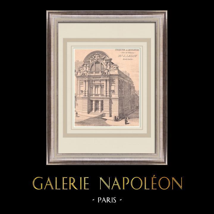 Gravures Anciennes & Dessins | Théâtre de Fougères - France (J. Laloy architecte) | Impression | 1900