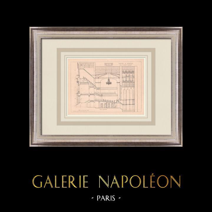 Gravures Anciennes & Dessins   Théâtre de Fougères - France (J. Laloy architecte)   Impression   1900
