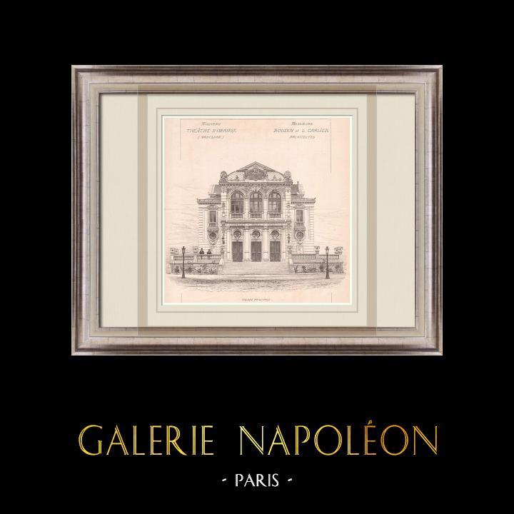 Gravures Anciennes & Dessins | Théâtre Municipal d'Orange - France (Boudoy & Carlier architectes) | Impression | 1900