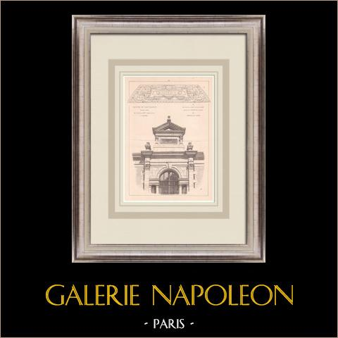 Teatro - Châteaudun - Francia (Charles-Emile Vaillant) | Stampa originale su carta bistro. Anonima. Piegatura centrale d'epoca e retro stampato. 1900