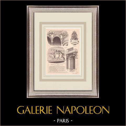 Teatro - Verdun - Interior - França (P. Chenevier) | Estampa original sobre papel bistre. Anónima. Vinco central da época e reverso impresso. 1900