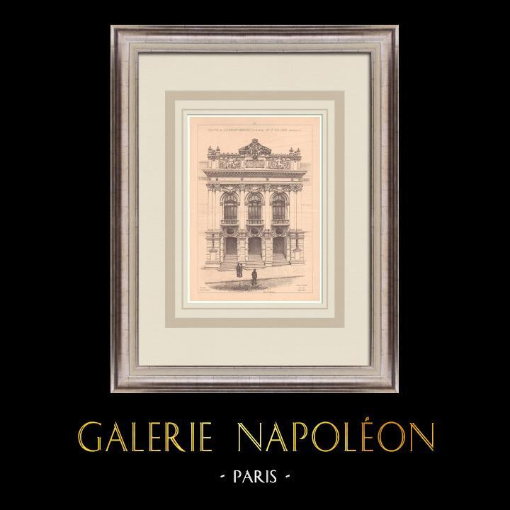 Gravures Anciennes & Dessins | Théâtre de Clermont-Ferrand - France (Jean Teillard architecte) | Impression | 1900
