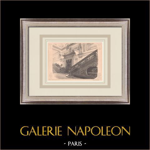 Kasino - Royan - Treppe - Frankreich (Gaston Redon) | Original grafik auf bister papier. Anonym. Mittelfalte aus der zeit und text auf der rückseite. 1900