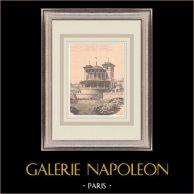 Kasino - Pornic - Gourmalon - Frankrike (Léon Lenoir) | Original grafik på bister papper. Anonym. Centralt veck och text på baksidan. 1900