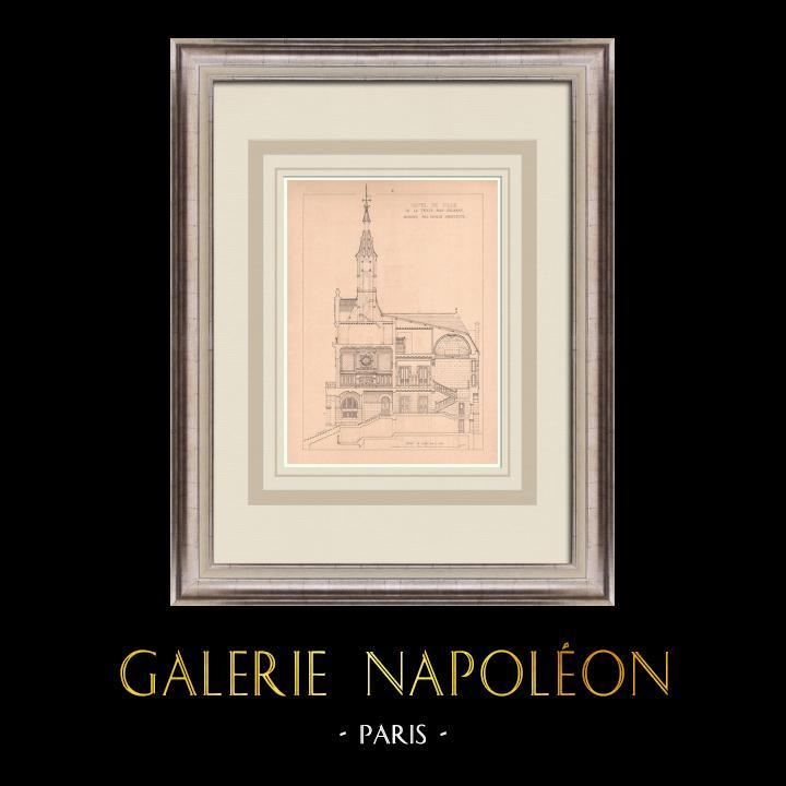 Gravures Anciennes & Dessins | Hotel de Ville - La Ferté-sous-Jouarre - France (P. Héneux architecte) | Impression | 1900