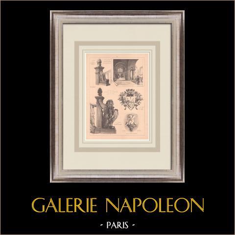 Rathaus - La Ferté-sous-Jouarre - Frankreich (P. Héneux) | Original grafik auf bister papier. Anonym. Mittelfalte aus der zeit und text auf der rückseite. 1900
