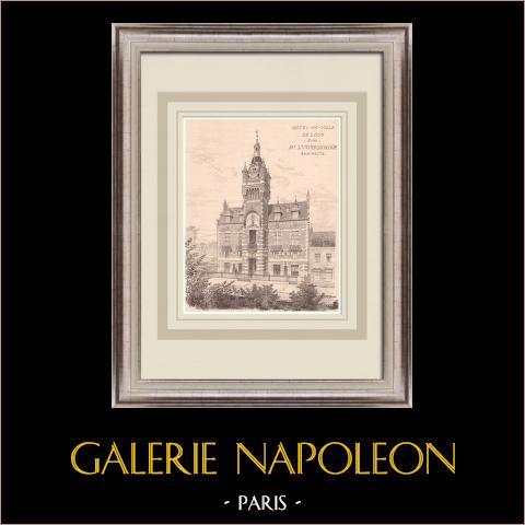 Municipio - Loos - Francia (L. Cordonnier) | Stampa originale su carta bistro. Anonima. Piegatura centrale d'epoca e retro stampato. 1900