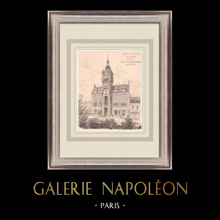 Antique Prints & Drawings   City Hall - Loos - France (L. Cordonnier)   Print   1900