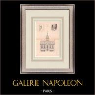 Hotel de Ville - Loos - France (L. Cordonnier architecte) | Impression originale sur papier bistre. Anonyme. Pli central d'époque et texte au verso. 1900