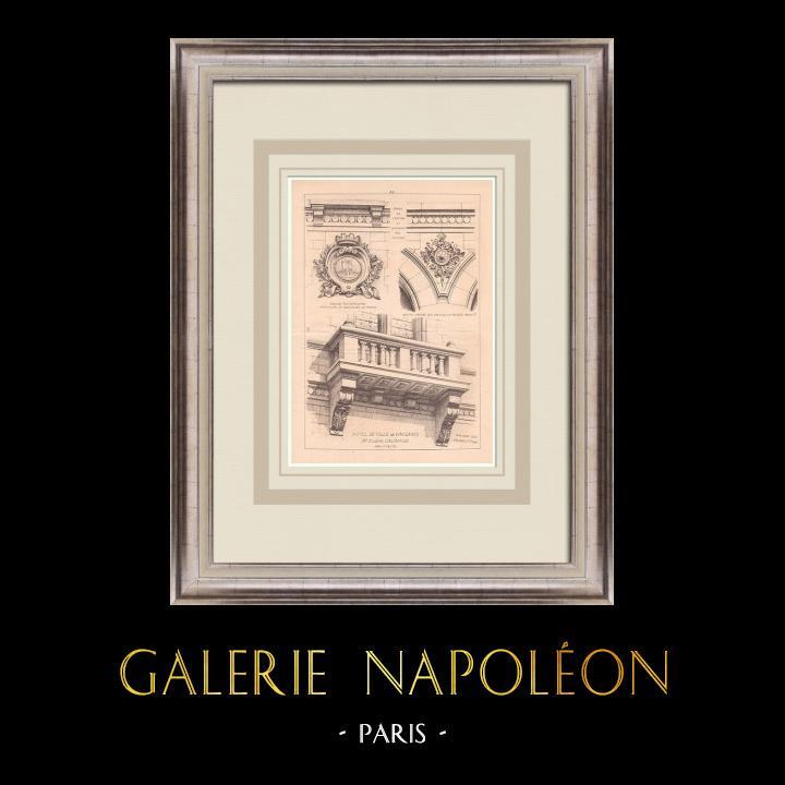 Gravures Anciennes & Dessins   Hotel de Ville de Vincennes - Ile de France (Eugène Calinaud architecte)   Impression   1900