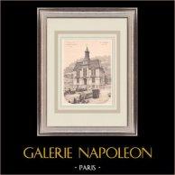 Hotel de Ville de Château-Thierry - France (J. Breasson architecte) | Impression originale sur papier bistre. Anonyme. Pli central d'époque et texte au verso. 1900