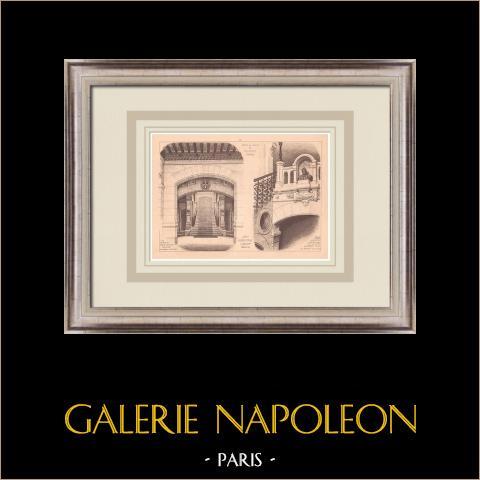 Rathaus - Valencia - Frankreich (Bertsch-Proust & Bichoff) | Original grafik auf bister papier. Anonym. Mittelfalte aus der zeit und text auf der rückseite. 1900