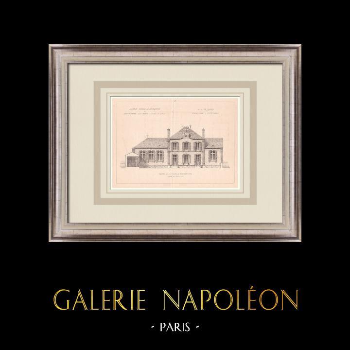 Gravures Anciennes & Dessins | Mairie - Ecole de garçons - Dampierre-sous-Brou - France (H. Passard architecte) | Impression | 1900