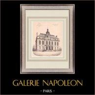 Hotel de Ville - Le Perreux - France (P. Mathieu architecte) | Impression originale sur papier bistre. Anonyme. Pli central d'époque et texte au verso. 1900