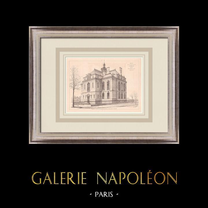 Gravures Anciennes & Dessins | Hotel de Ville - Le Perreux - France (P. Mathieu architecte) | Impression | 1900