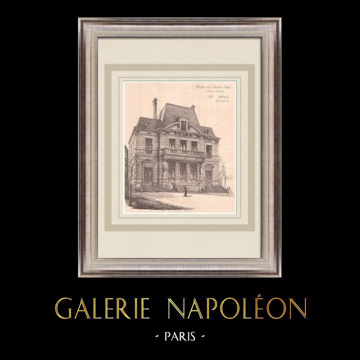 Gravures Anciennes & Dessins   Hotel de Ville - Seine-Port - Ile de France (M. Buval architecte)   Impression   1900