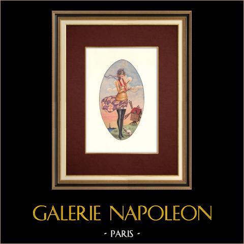 Années Folles - Art Déco - Erotisme - Coup de Vent - Tour Eiffel | Aquarelle originale sur papier. Anonyme. 1920